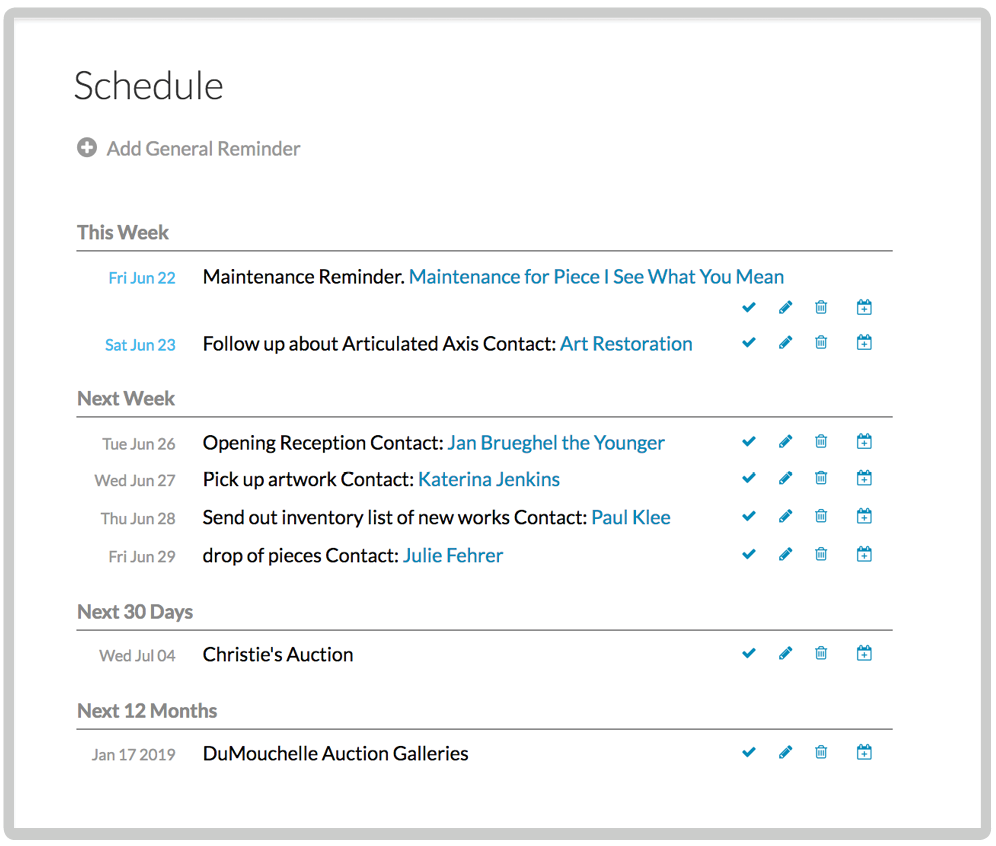 Image of the scheduling and reminder features of Artwork Archive Inventory Database