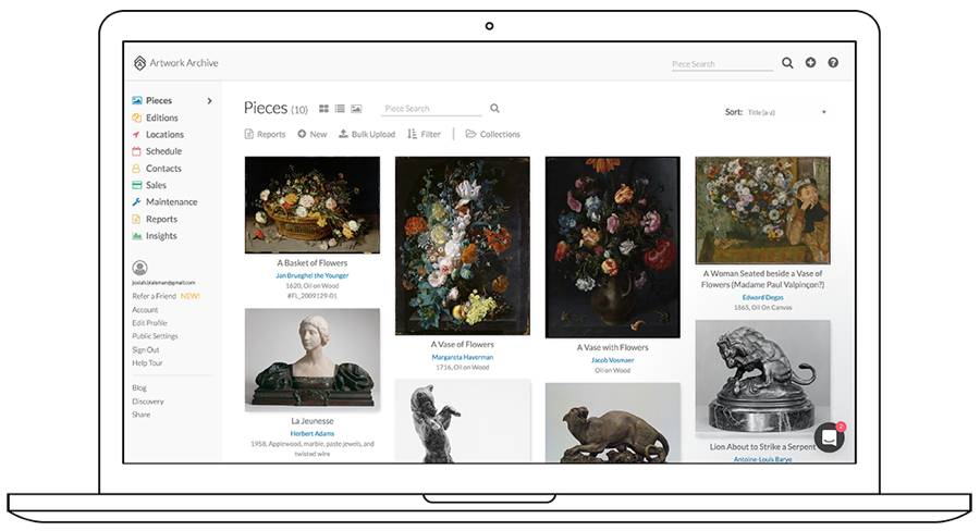 Artwork Archive inventory reports and portfolio pages for easy art display on the go.