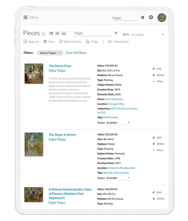 Image of the Artwork Archive user experience where a member can view item details for each art piece in their inventory.